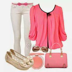 Love this outfit! Fashion Wear, Curvy Fashion, Womens Fashion, Fashion Trends, Dress Attire, Silk Pants, Korean Fashion, Summer Outfits, Short Sleeves