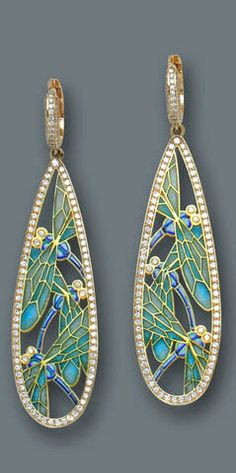 A pair of diamond and plique-à-jour enamel pendant earrings each designed as an openwork drop-shaped panel of green and blue enamel foliate motif, accented and bordered by round brilliant-cut diamonds; estimated total diamond weight: 2.50 carats; mounted in eighteen karat gold; length: 2 5/8in.