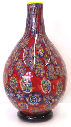 hand-blown murano art glass vase millefiori A07 with certificate