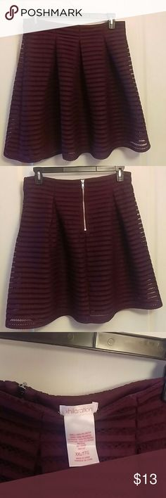 Xhilaration Pleated Midi skirt Fully lined burgundy, stripe mesh skirt from Target.  Great used condition, size XXL. Xhilaration Skirts A-Line or Full