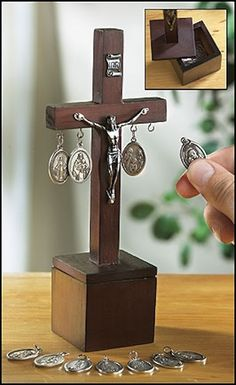 Special Intentions Jesus Cross with 11 Medals Wooden Crucifix Box Christian  NEW