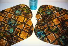 Aqua and Gold Placemats by CheekyVintageCloset on Etsy, $12.50