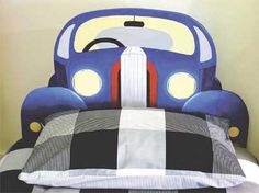 Headboard ideas for the boys and girls. This one is perfect for boys that like car.
