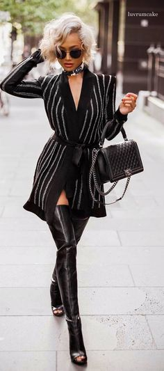 Micah Gianneli in ALL BLACK. Black Chanel bag. Black leather thigh high boots. Open toe shoes. OTK (over the knee) boots. <3 @benitathediva