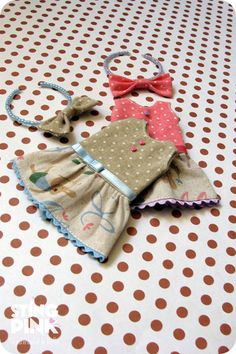 Blythe Dress rabbits and polka dots Japanese fabric by StingPink, $15.00