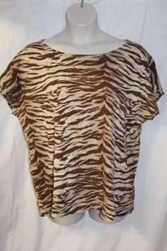 e57c31090f727 RALPH LAUREN WOMEN S 2X SHORT SLEEVE BROWN Cotton Tiger ANIMAL PRINT BLOUSE  NEW  RalphLauren  Blouse  Casual