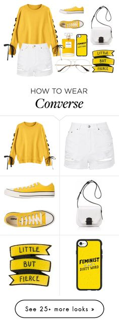 """"""""""" by afrahoran on Polyvore featuring Chanel, Topshop, Converse, Joanna Maxham, Ray-Ban and Casetify"""
