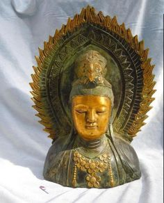 Old Chinese finely bronze gild carved Kwan-yin buddha caput statues