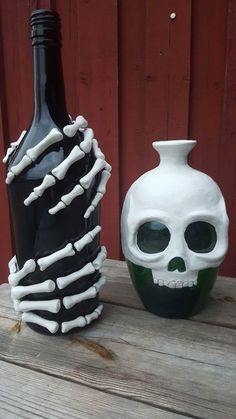 DIY Skeleton Bottles For Winoween