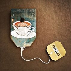 When is a tea bag more than just a tea bag? In January New York-based artist and graphic designer Ruby Silvious began a tea-licious new project: she would record impressions of the moment eve… Tea Bag Art, Tea Art, Art Bag, Tee Kunst, Used Tea Bags, Creation Art, Guache, Art Sculpture, My Tea