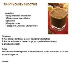 It Works ProFit Chocolate Peanut Butter Smoothie Recipe.  DELICIOUS!!! Order your ProFit http://facebook.com/lilmissgreenjeans