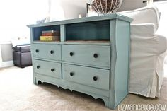 Re-purposed dresser with top drawers removed for a shelf,  great behind a couch or at the foot of the bed  #home