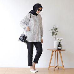 Casual Hijab Outfit, Ootd Hijab, Blouse Outfit, Casual Outfits, College Outfits, Office Outfits, New Outfits, Girl Outfits, Muslim Fashion