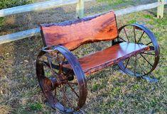 Benches - Sycamore Creek Creations Wagon Wheel Bench, Wagon Wheel Decor, Cedar Furniture, Pallet Furniture, Garden Furniture, Log Benches, Sycamore Creek, Wooden Wagon Wheels, Cedar Bench