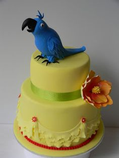 An awesome and colorful cake. Cakes To Make, Just Cakes, Fancy Cakes, Fondant Cakes, Cupcake Cakes, Cupcakes, Beautiful Cakes, Amazing Cakes, Rio Cake
