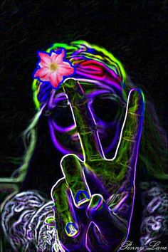 Black light hippie chick