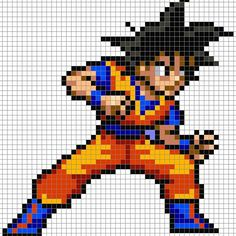 DBZ Goku perler pixel pattern  by 8bitofeverything