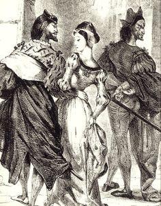 drakontomalloi:  Eugene Delacroix - Faust Meeting Marguerite. Illustration for…
