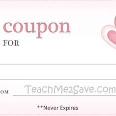 Blank Coupon Template With Love Decals And Blue Dotted Border