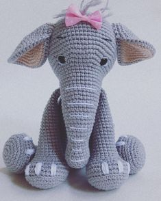 In this article I will share a wonderful amigurumi pattern again. You can enjoy this beautiful amigurumi elephant free english pattern.  Materials  Yarn Pekhorka children's novelty,  1 skein of the main color, half  skein of a different color  Hook 1.5-1.75 Elephant Pattern, Main Colors, Free Pattern, Dinosaur Stuffed Animal, Children, Crochet, English, Live, Animals