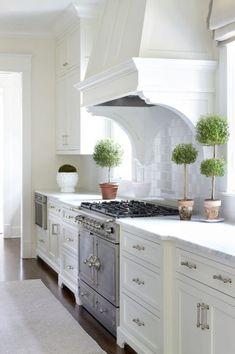 Microwave in cabinet, cool range and stand alone hood  Adding some greenery to a classic white kitchen. Friday's Favourites: Gallerie B