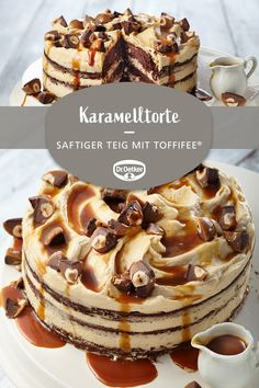 Karamelltorte mit Toffifee® Caramel cake with Toffifee®: Juicy dough with Toffifee® and caramel cream filling Chocolate Peanuts, Chocolate Peanut Butter, Chocolate Recipes, Cake Recipes, Dessert Recipes, Flaky Pastry, Mince Pies, Food Cakes, Cookies Et Biscuits