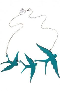 Swallow Necklace - turquoise mirror
