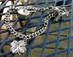 Vintage Sterling Charm Bracelet  With 3 Charms by FancyThatBlingCo