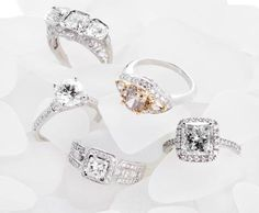 Intricate settings marry sparkling stones for stunning engagement rings