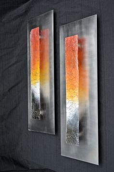 Imperfection Pair Crackle Fused Glass Pair of Wall by Krenzin11