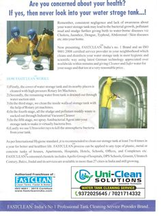 Scientific and Mechanised water tank cleaning FASTCLEAN process