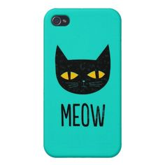 Funny Cute Cool Turquoise Black Cat Meow