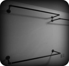 DIY Clothing Racks Made from Simple Black Iron Pipes! Great Way to Mount Your Own Cheap Clothing Racks and Set them up just the way that fits your needs best! / via Concrete NailPolish - Modern Closet Closet Bedroom, Closet Space, Diy Bedroom, Diy Clothes Rack Pipe, Clothes Storage, Diy Clothes Bar, Clothes Hooks, Diy Clothing, Clothing Racks