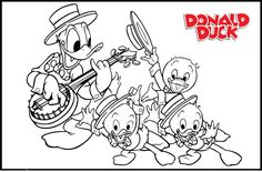 Donald And Little Duck Playing Music Coloring Pages Coloring Pages . Frog Coloring Pages, Quote Coloring Pages, Horse Coloring Pages, Coloring Pages For Boys, Disney Coloring Pages, Printable Coloring Pages, Coloring Books, Colouring, Donald And Daisy Duck