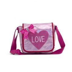 Deze Zebra Tassen Kinderflaptasje Love pink vind je op www.liefzebraatje.nl
