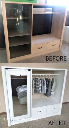DIY - Entertainment Center Turned Into Kids Closet Armoire (Furniture Makeover) ., makeover diy before and after entertainment center DIY - Entertainment Center Turned Into Kids Closet Armoire (Furniture Makeover) . Bedroom Furniture Makeover, Refurbished Furniture, Ikea Furniture, Furniture Layout, Repurposed Furniture, Furniture Projects, Furniture Plans, Furniture Decor, Furniture Design