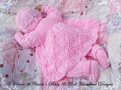 "Lacy Winter Pram Set 16-22"" doll (preemie-3m+ baby)-pram suit, babydoll handknitdesigns, pattern, knitting pattern, lacy, reborn, baby"