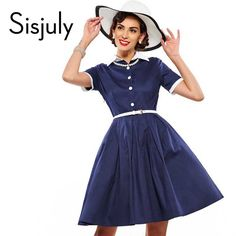 Sisjuly vintage dress women blue a line dress 1950s rockabilly pin up dresses vestidos de festa vintage style party dresses