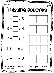 Missing Addends differentiated worksheets