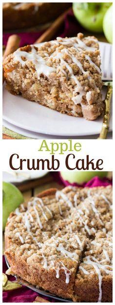 A sweet simple apple crumb cake recipe! #apples #dessert #crumbcake #cake #falldessert via @sugarspunrun
