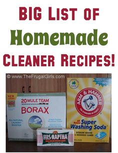 BIG Homemade Cleaner Recipes List