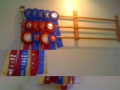 horse show ribbon display Horse Ribbon Display, Show Ribbon Display, Horse Show Ribbons, Trophy Display, Award Display, Ribbon Wall, Diy Ribbon, Ribbon Boards, Ribbon Holders
