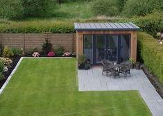 Garden Office Shed, Backyard Office, Garden Storage Shed, Backyard House, Backyard Sheds, Corner Summer House, Summer House Garden, Back Gardens, Outdoor Gardens