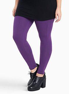 Plus Size Full Length Premium Leggings, PURPLE