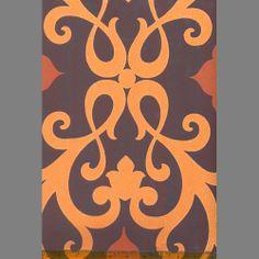 Moda Purple and Orange Damask: HX91005AS   Moda Wallpaper Book