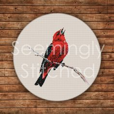 Counted+Cross+Stitch+Pattern++Scarlet+Tanager+von+SeeminglyStitched