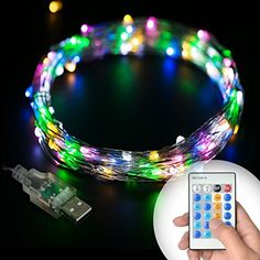 Efoxer Outdoor String Lights Dimmable LED String Lights for Holiday Wedding Patio Parties  Bedroom Christmas Tree Halloween Decoration 100 LEDs 33 ft Copper Wire Colourful Remote Control ** Continue to the product at the image link.