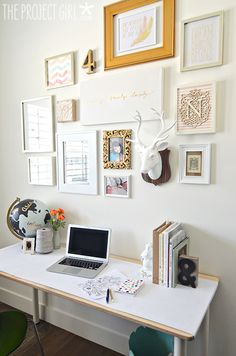 Creative Office Gallery Wall - gold, pink, and white