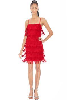 Gatsby 20's Flapper Fringe Mini Dress - RED