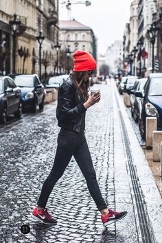 Beanie, pop of color, red, Nike, streetwear, fall fashion, #clothesminded